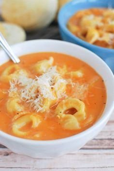 Creamy Tomato Tortellini Soup - the only soup my kids will eat! And so easy to make!