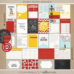 Project Mouse: Planning (from Bundle #2): ♥ 22 3x4 Cards♥9 4x6 Cards♥ 1 5x7 Calendar ♥ Easy 8.5x11 print sheets of ALL 32 cards $6.99