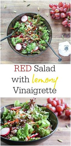 Antioxidant rich RED salad with lemony dressing is delicious lunch! Awesome, healthy salad recipe. Perfect for dinner, over quinoa or a quick lunch.