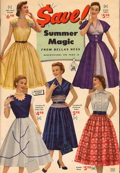 Five gorgeous warm weather looks from 1953 (want/love the yellow and purple dresses big time!). #vintage #summer #1950s #dresses #fashion #catalogs