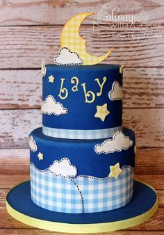 Gingham Baby Shower Cake by Always with Cake! (This is über cute!)