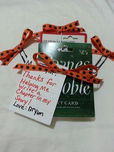 Teacher Appreciation, Gift card for a book, 3 homemade bookmarks & a book light.