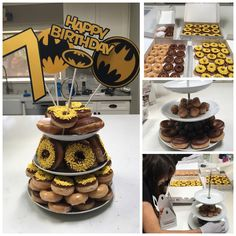 Batman donut cake tower  - most expensive birthday cake so far!!! From the special sprinkles to the decorations.