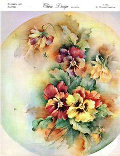 #6 Pansies China Painting Study by Wanda Clapham 1965