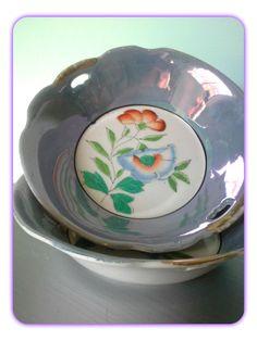 Vintage Blue Lustreware Floral Made in Japan Bowls by SparkleSet