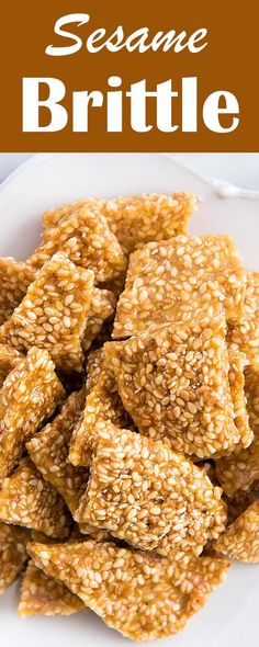 Crunchy Sesame Brittle, so EASY to make! With sesame seeds, sugar, and honey.