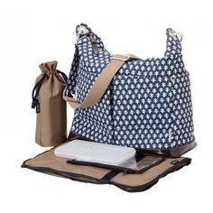 Monaco Mini Geo 2 Pocket Hobo Diaper Bag from OiOi Trendy Diaper Bags, Baby Nappy Bags, Changing Bag, Wholesale Bags, Baby Online, Bago, Blue Bags, Online Bags, Hobo Bag