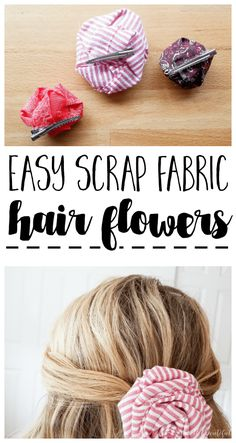 Use up your scrap fabric stash by making these adorable and easy flowers! Perfect for turning into hair clips, bag accessories, clothing embellishments, and more! accessories clothing How to Make Easy Scrap Fabric Flowers to Put On Just About Anything Fabric Headbands, Fabric Bows, Fabric Scraps, Flower Fabric, Easy Fabric Flowers, Crocheted Flowers, Flower Headbands, Handmade Headbands, Scrap Fabric Projects