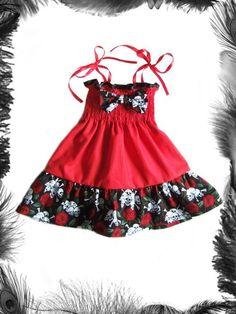 Striped Skulls w// Roses You Pick Size * Baby Infant Toddler Girls Dress