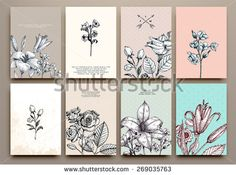 Vintage Floral Cards Set. Frame with Engraving Flowers. Botanical Illustration with Roses, Lilies and other Flowers. Retro Graphic Style. - stock vector
