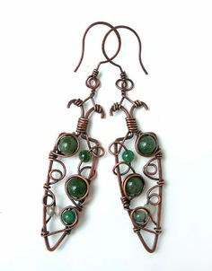 Copper wire wrapped earrings with moss agate #boho #jewelry by Kissedbyclover on Etsy