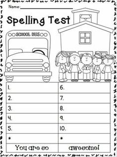 Back To School Spelling Test Templates!!!! FREEBIE!!!! These
