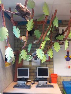 Onze boom in de klas, er komen steeds meer knuffels in;) Jungle Party, Jungle Safari, Rainforest Activities, Coloring For Kids, Bloom, Skyline, School, Projects, Africa