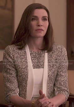 Alicia's speckled print jacket and dress set on The Good Wife.  Outfit Details: http://wornontv.net/48410/ #TheGoodWife