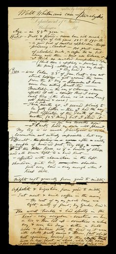 """Autograph Manuscript Signed. Whitman, Walt. [Camden], [late July or August, 1873]. 1 p., folio, 18 5/8 x 7 3/4 inches, on Department of Justice letterhead. Separated along 3 horizontal folds - one repaired on verso with cello-tape, some chipping along bottom edge - very minor paper loss, top & bottom quadrants moderately toned. Signed by Whitman in heading. Docketed, """"Walt Whitman's Case."""" #FreemansAuction"""