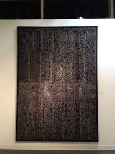 "Chiyu Uemae Untitled stitch work. Nearly 7' tall piece entirely hand stitched in 1/4"" stitches w/ white thread on black fabric."