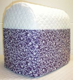 White Quilted Purple Ivy Vine Cover for 4.5 or 5 qt Kitchenaid Tilt Head Stand Mixer w/6 Pockets