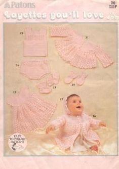 Patons 700 Layettes You ll Love Crochet Baby Cardigan Free Pattern, Layette Pattern, Crochet Baby Sweaters, Baby Sweater Patterns, Baby Cardigan Knitting Pattern, Knitted Baby Clothes, Baby Knits, Crochet Cats, Crochet Birds
