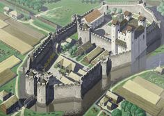 Anglo Norman High Medieval Castle Illustration  Based on several Anglo Norman castles in Ireland, including Trim, Carrickfergus and Adare.