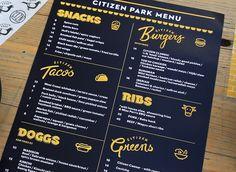 Citizen Park | Menu Design