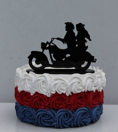 Motorcycle BIKER Wedding Cake topper motorcyclist riding in the wind couple