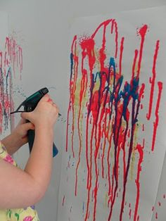 """Our Friday Art Class was fabulous and extra messy! :) The teacher read """"The Big Blue Spot"""" which was about a blue spot who eventually me. Drip Painting, Painting For Kids, Art For Kids, Crafts For Kids, Arts And Crafts, Kids Fun, Art Projects, Projects To Try, Spray Paint Art"""