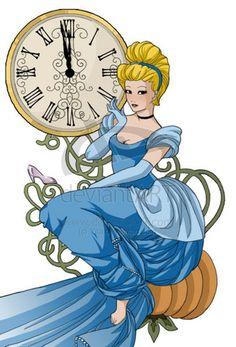 Disney Princess Fan Art: Cinderella and the clock Art Nouveau Disney, Disney Magic, Disney Cast, Disney Fan Art, Disney Love, Disney Artwork, Disney Style, Alphonse Mucha, Deviant Art