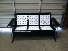 Antique Metal Glider - Piecrust Black and White Powdercoated
