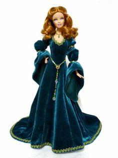 BArbie in Blue Velvet Gown Barbie Gowns, Barbie Dress, Barbie Clothes, Barbie Sewing Patterns, Doll Clothes Patterns, Clothing Patterns, Medieval Dress, Medieval Clothing, Steampunk Clothing