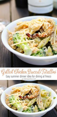 Grilled chicken, broccoli & tortellini in a creamy garlic cheese sauce makes this Grilled Chicken Broccoli Tortellini a delicious easy dinner idea. So good & oh so simple! #ad