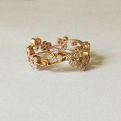 Dalben Diamond Yellow Sapphire Rose Gold Romantic Band Ring image 2