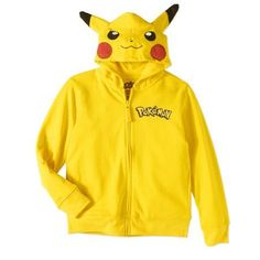 Pokemon Boys' Pikachu Long Sleeve Graphic Costume Hoodie With 3D Ears, Size: 5-6, Yellow