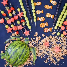Give your skewers a real underwater coral feel by using star cookie cutters to shape your melon and other fruit. Advise your kids not to eat all the fruit at once as fruit has a high fructose content Birthday Party For Teens, Summer Birthday, Mermaid Birthday, Birthday Party Themes, Underwater Party, Mermaid Parties, Sweet 16 Parties, Birthday Design, Craft Party