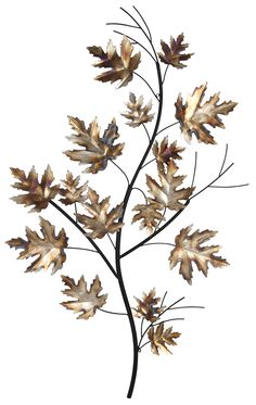 Stem with Winter Leaves Metal Art | Wayfair UK