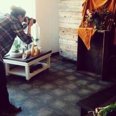 Studio Choo. Moveable wood wall on casters.