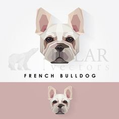 french bulldog geometric polygonal logo icon