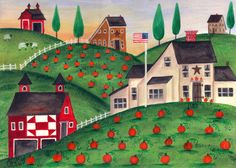 quilt patterns on barns | Red Quilt Barn Pumpkin Hill Folk Art Print