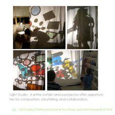 Light studio in 2-3 year old classroom.  Reggio Inspired Practice.