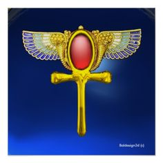 RED TALISMAN / EGYPTIAN GOLD JEWEL WINGED ANKH WITH CORNUCOPIA IN BLUE Egyptian symbol of eternal life Ankh with golden blue wings ,corn motifs and vibrant red gemstone.Elegant jewel design in red burgundy background, part from collection Hyper Talismans. modeling ,design & rendering by Bulgan Lumini. (c)