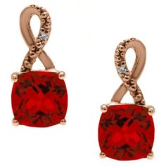 Rose Gold Cushion-Cut Ruby Birthstone Diamond Drop Earrings Jewelry Available Exclusively at Gemologica.com