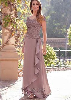 6d162d550 Vestido de madrina Romántico Camiseta Corte-A Gasa Falta Barco