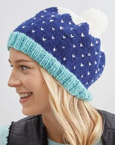 Free Knitting Pattern for Snow Speckled Hat - Simple fair isle colorwork creates the illusion of snowy sky in this colorful hat designed by Erin Kate Archer in two sizes.