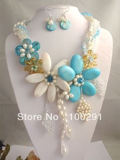 #NE-002 Fashion Wrap Shell Flower Necklace, Crystal turquoise pearl Jewelry Set For Wedding Party $65.41