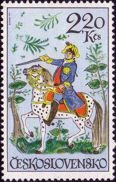 Horsemen stamps, Napoleon-type. Designer: Bedrich Housa