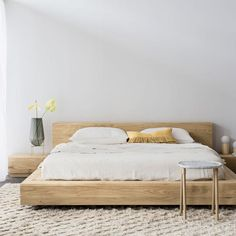 21 Wooden and Contemporary Bed Frame Ideas, Take Your Pick # Design Timber Bed Frames, Timber Beds, Oak Beds, Wooden Bed Frames, Oak Bed Frame, Bed Frame Design, Bed Linen Design, Bed Design, White Bedroom Set