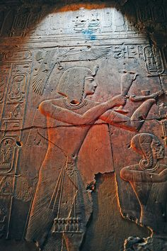 Seti 1st making offering, bas relief