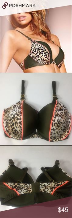 💕 VS Olive Green Very Sexy Push-up Bra💕 💝💝Olive Green/ Leopard Print & Neon Orange. Very Cute!!💝💝 Victoria's Secret Intimates & Sleepwear Bras