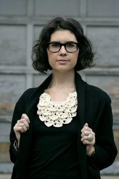 "layered crochet bib necklace by acommonthread on Etsy, an idea to try and make similar neckline ""filler"""