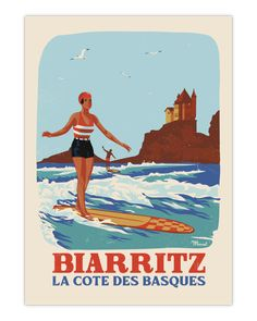 Biarritz, et la Côte des Basques sont des endroits mythiques de la Côte Basque, appréciés pour leurs nombreux atouts et le confort de vie associée. Ce travelposter vous plonge directement dans l'ambiance rétro du surf des années 60 sur la célèbre Grande Plage de Biarritz. Cette illustration rétro et originale est dessinée et imprimée dans les Landes sur un papier de haute qualité de 350g/m² couché mat, pour un rendu idéal. 19€ - 30x40 cm 29€ - 50x70 cm Typography Drawing, Typography Poster, Vintage Theme, Vintage Posters, Marcel, Soorts Hossegor, Themes Themes, Vintage Typography, New Poster
