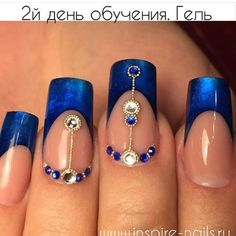 Blue french with gems and micro beads